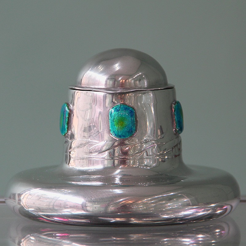 Archibald Knox for Liberty & Co pewter inkwell with blue/green enamels (c.1903)