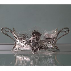 Art Nouveau WMF Silver Plated Flower Dish with Clear Glass Liner (c.1900)