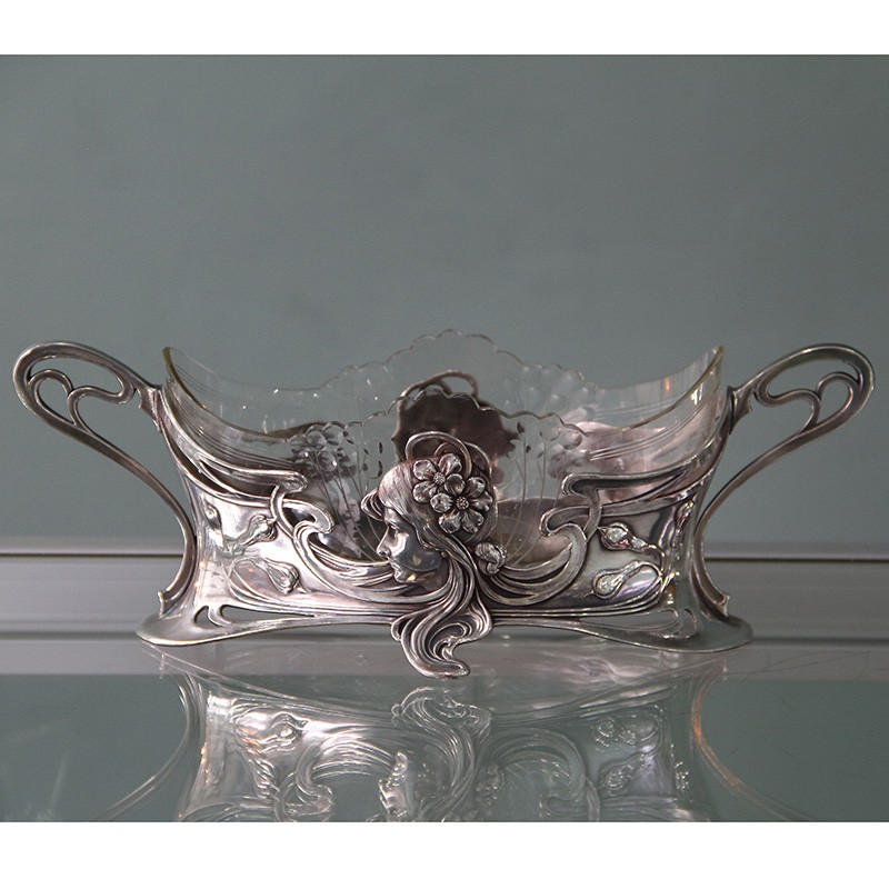 Art Nouveau Wmf Silver Plated Flower Dish With Clear Glass