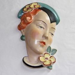 Royal Dux Art Deco Ceramic Wall Mask Plaque (c.1930)