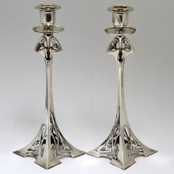 Pair of WMF Art Nouveau Silver Plated Candlesticks (c.1900)