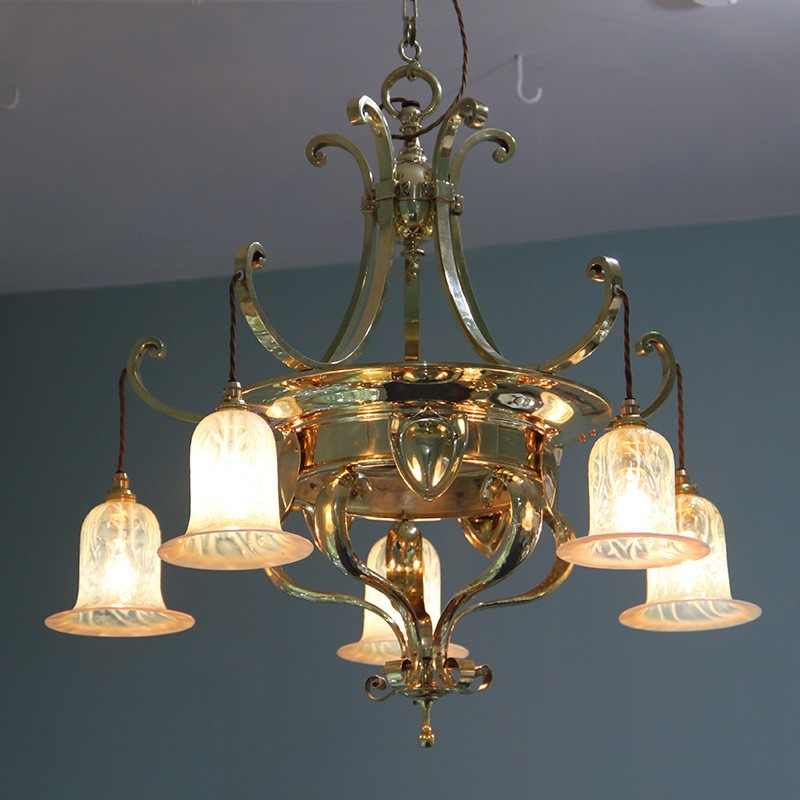 Arts & Crafts Brass Ceiling Light with Five Vaseline Glass Shades. Circa 1900
