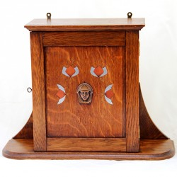 Arts & Crafts Golden Oak Wall Cupboard with a Secessionist Female Profile in Copper (c.1900)