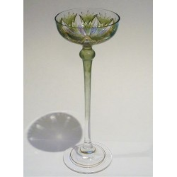 Antique Theresienthal Art Nouveau glass. Enamelled glass with foliage decoration (c.1900)
