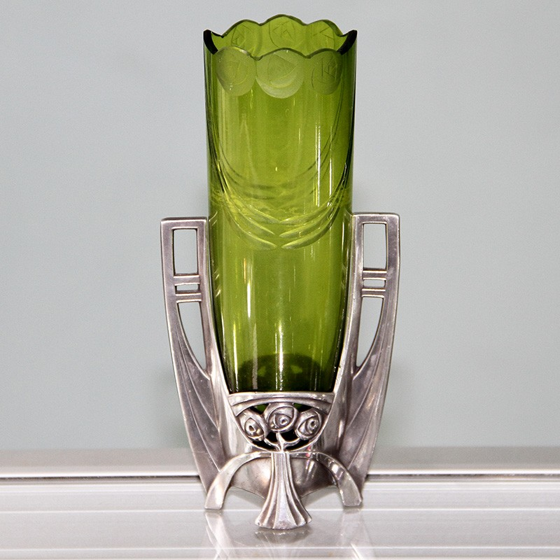 Wmf Silver Plated Flower Vase With Crystal Green Cut Glass Liner C