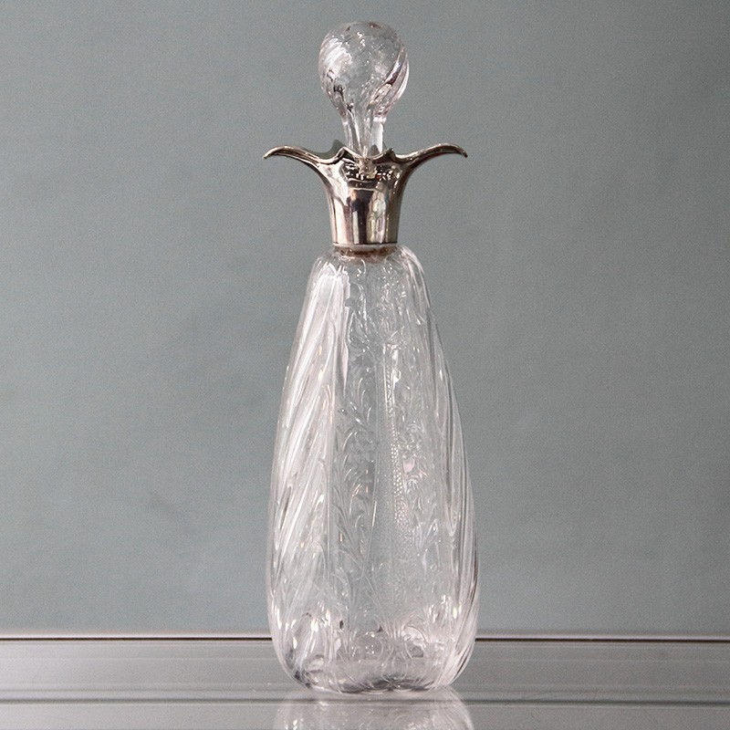 William Comyns silver topped Art Nouveau glass decanter. Hallmaked London 1904
