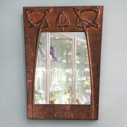 Arts & Crafts Copper Wall Mirror with Original Mirror and Chain (c.1900)