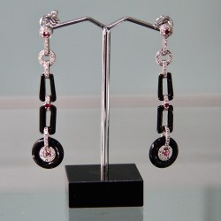 White gold onyx diamond and ruby earrings in the style of Cartier. (c.1980)
