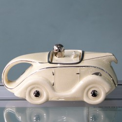 Sadler Art Deco Racing Car Teapot in Cream (c.1937)