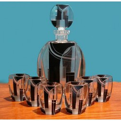 Karl Palda Bohemia Art Deco decanter and six glasses. Czech (c.1920)
