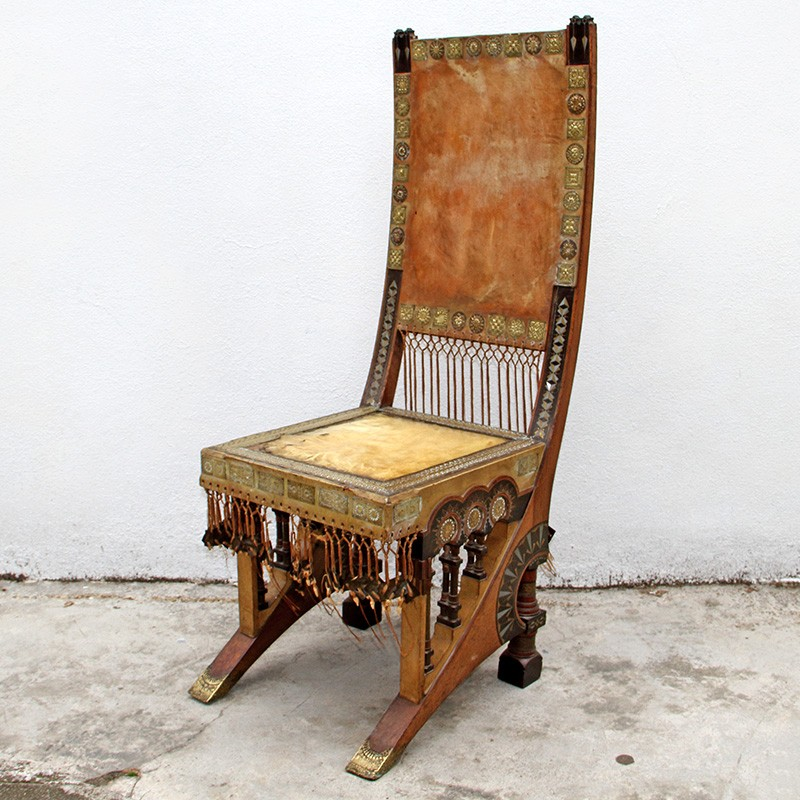 Carlo Bugatti Art Nouveau Chair with Embossed Brass Copper and Pewter Inlay (c.1895)