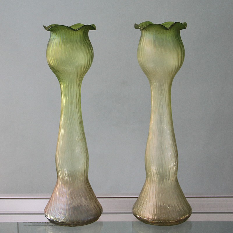 Pair of Art Nouveau Green Glass Iridescent Hyacinth Vases (c.1900)