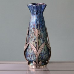 Loetz Papillon Art Nouveau Iridescent Glass Vase with Van Hauten Pewter Mount (c.1905)
