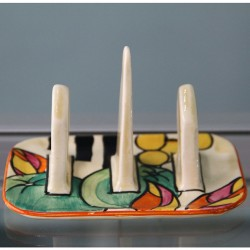 "Clarice Cliff ""Apples"" Fantasque Hand Painted Bizarre Toast Rack (c.1930)"