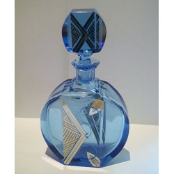 Bohemian scent bottle. Blue glass and enamelled silver overlay (c.1925)
