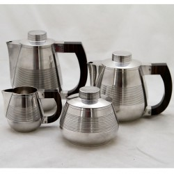 French Art Deco Silver Plated Four Piece Tea Set with Rosewood Handles (c.1925)