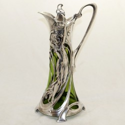 WMF Art Nouveau Silver Plated Claret Jug with Original Green Glass Liner (c.1900)