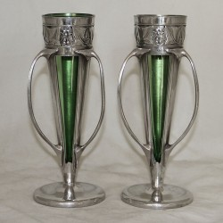 Archibald Knox for Liberty & Co Pair of Pewter Vases with Original Powell Green Glass Liners (c.1905)