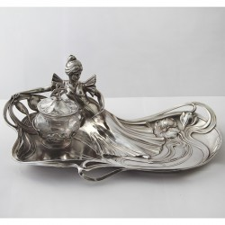 WMF Art Nouveau Silver Plated Inkstand with Crystal Cut Glass Inkwell (c.1906)