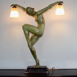 Art Deco Large Verdigris Spelter Lamp with Two Tinted Glass Shades (c.1925)