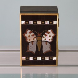 Erhardt and Sohn Inlaid Jugendstil Rosewood Box with Butterfly Design (c.1905)