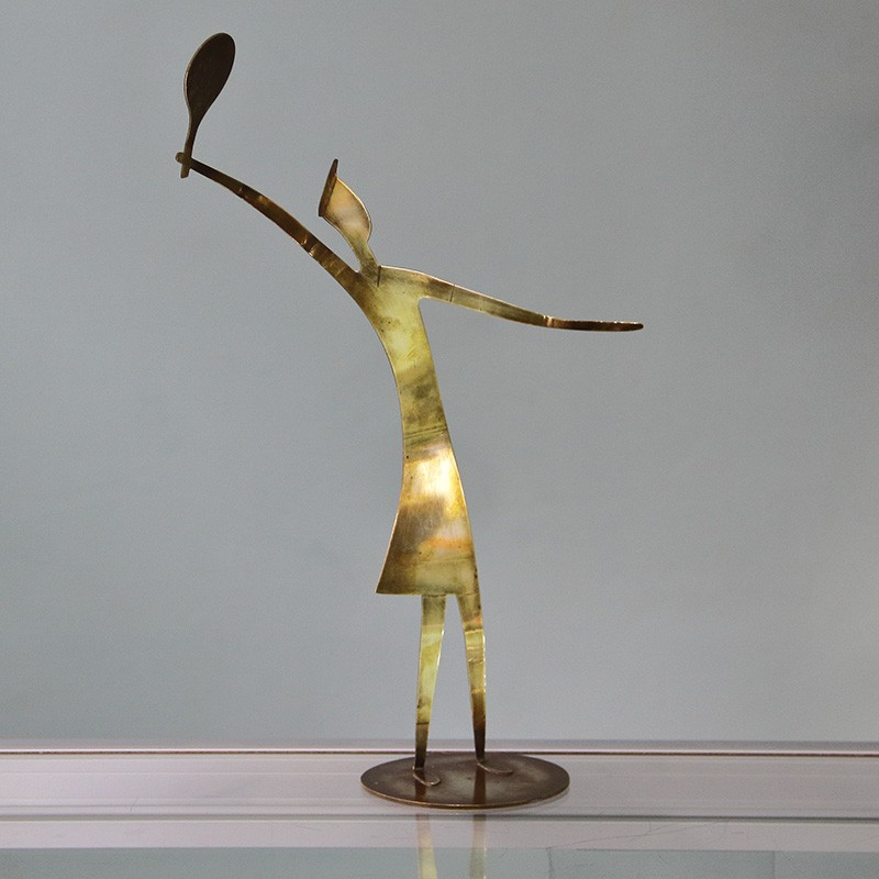 Franz Hagenauer Tennis Player Constructed of Cut and Bent Sheet Brass (c.1950)