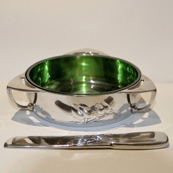 Archibald Knox for Liberty & Co Tudric Pewter Butter Dish and Knife (c.1905)