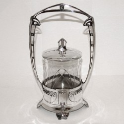 Juventa Silver Plated Biscuit Jar with Original Crystal Cut Glass Liner (c.1905)