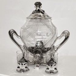 Juventa Silver Plated Punch Bowl with Matching Punch Cups (c.1905)