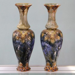 Royal Doulton Pair of antique Art Nouveau Stoneware Vases (c.1910)