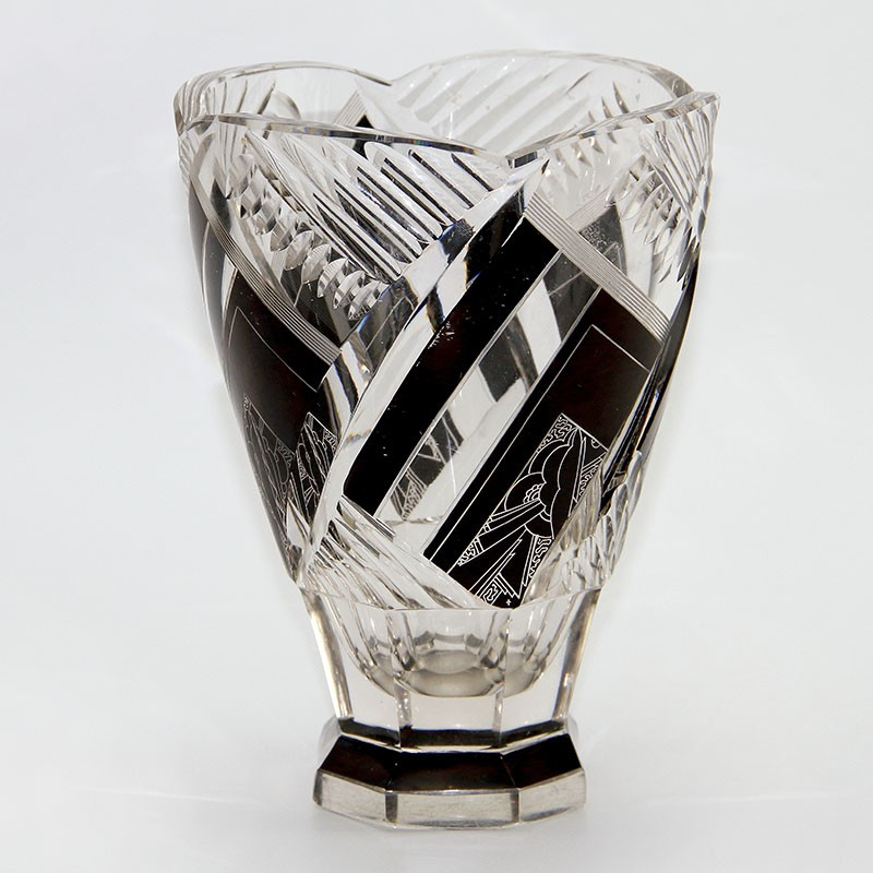 Karl Palda Bohemian Art Deco Clear and Black Enameled Vase with Geometric Design (c.1925)