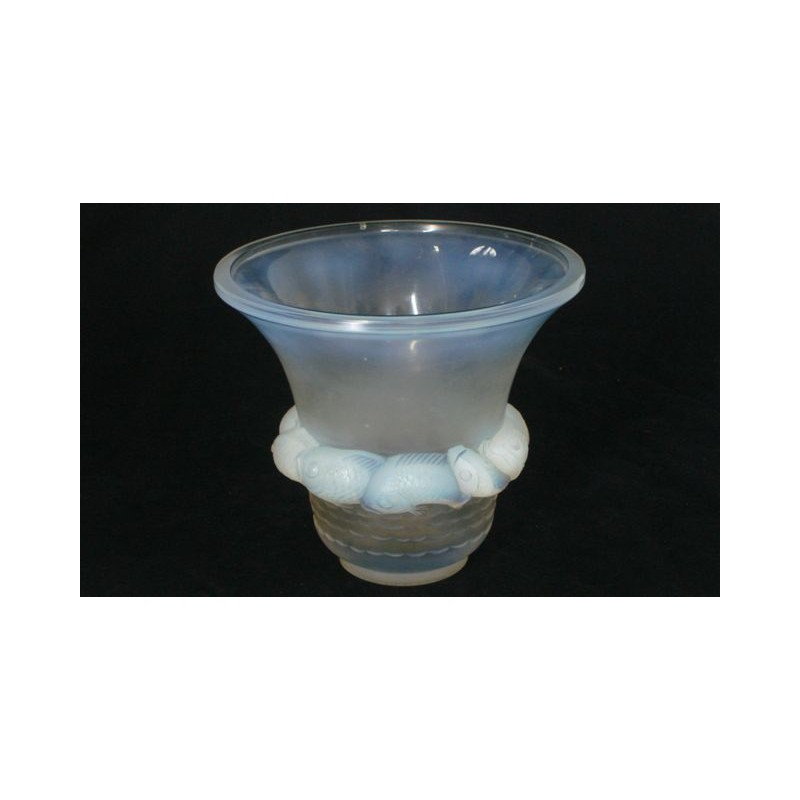 Rene Lalique Piriac Opalescent Glass Vase Signed To Base C1930
