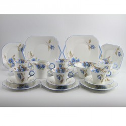 Shelley 'Blue Blooms' Regent shape 22 piece tea set. (c.1934)