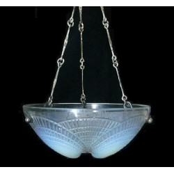 Rene Lalique Cocquilles ceiling opalescent lampshade with original chains. Marked R Lalique France (c.1930)