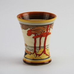 Clarice Cliff Bizarre Coral Firs Vase No 572. (c.1930)