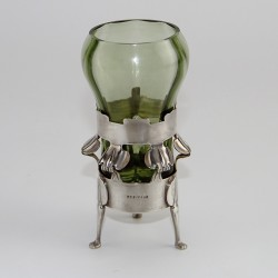 Antique William Hutton Silver Vase with Powell Green Glass Liner. (1902)