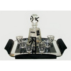 Karl Palda Art Deco decanter with six glasses and tray. Bohemian, Czech. (c.1920)