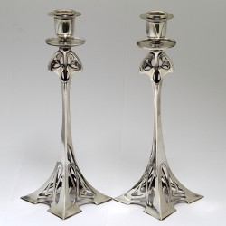 WMF pair of Art Nouveau silver plated candlesticks with stamped marks to base. (c.1900)