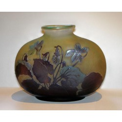 Antique Galle cameo glass vase with leaves and flowers amber background. Signed. (c.1900)