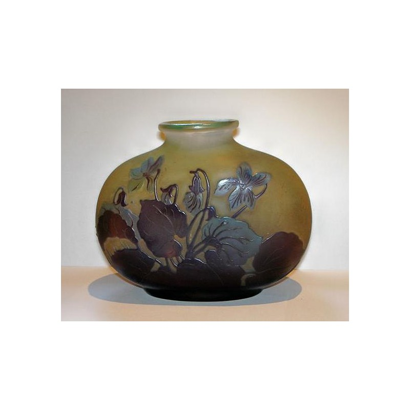 Antique Galle Cameo Glass Vase With Leaves And Flowers C1900