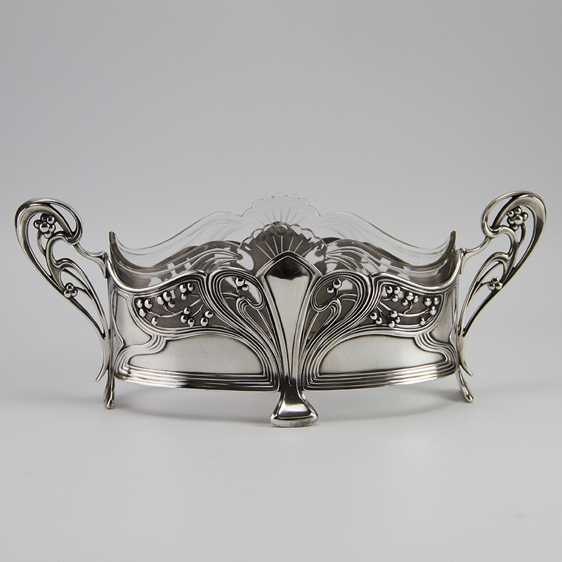 Antique WMF silver plated flower dish with original crystal cut glass liner. (c.1906)