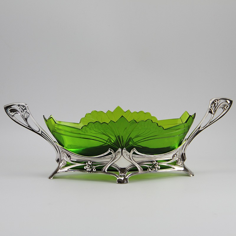 WMF silver plated flower dish with original green crystal cut glass liner. (c.1906)