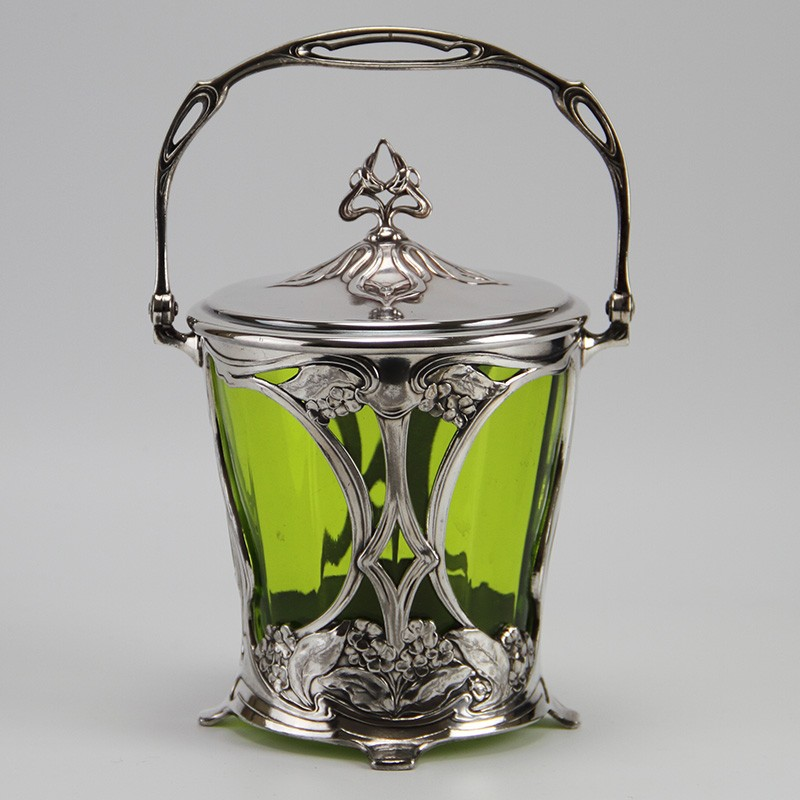 WMF Art Nouveau silver plated biscuit box with original green crystal glass liner. (c.1906)