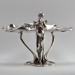 WMF Silver Plated Visiting Card Tray with Art Nouveau Maiden (c.1900)