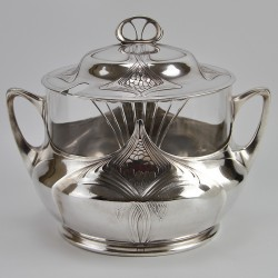 Orivit Art Nouveau Punch Bowl with Original Crystal Glass Liner (c.1908)