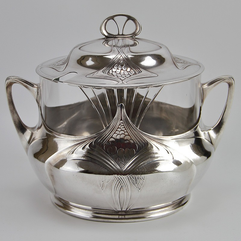 Orivit Art Nouveau Silver Plate Punch Bowl with Original Crystal Glass Liner (c.1908)