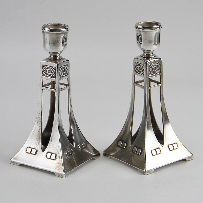 WMF pair of Art Nouveau secessionist silver plated candlesticks. Circa 1906.