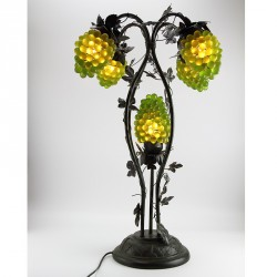 Murano Table Lamp with Glass Grape Bunch Shades and Metal Vine Leaves