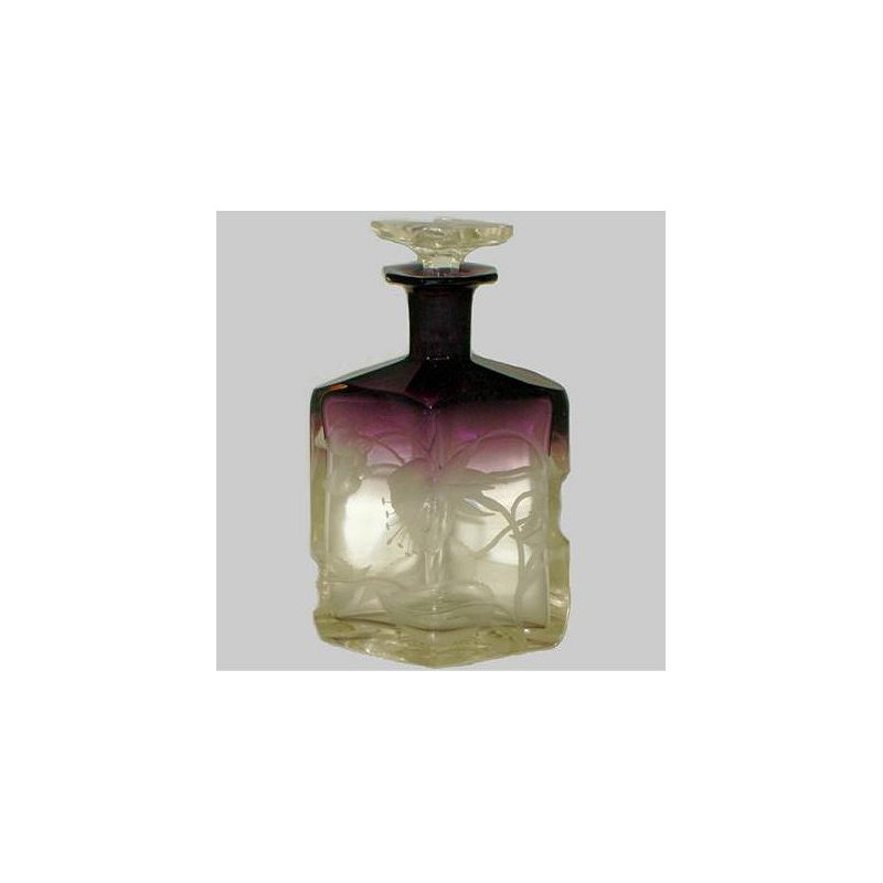 Moser Karlsbad Art Nouveau amethyst and clear glass perfume bottle. (c.1900)