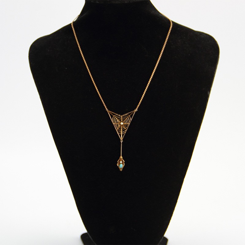 Murrle Bennett & Co Art Nouveau gold seed pearl and turquoise spiders web pendant necklace, signed M.B.Co. 9ct. (Circa 1910)